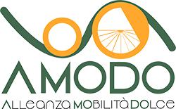 """Logo AMODO Alleanza per la Mobilità Dolce (La scritta """"AMODO - Alleanza MObilità DOlce"""" sotto a due ruote stilizzate)"""
