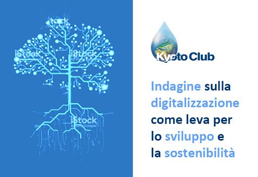 """Immagine di un circuito stampato a forma di albero e la frase """"Indagine sulla digitalizzazione come leva per lo sviluppo e la sostenibilità"""" sotto al logo Kyoto Club"""